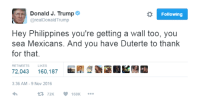 o Following  Donald J. Trump  arealDonald Trump  Hey Philippines you're getting a Wall too, you  sea Mexicans. And you have Duterte to thank  for that.  RETWEETS LIKES  72,043 160,187  3:36 AM 9 Nov 2016  t 72K  160K SEA Mexicans
