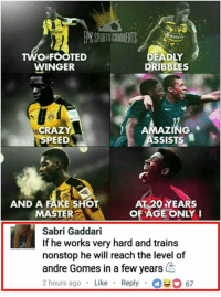 Fake, Memes, and Train: O-FOOTED  WINGER  DEADLY  DRIBBLES  NG  ASSISTS  CR  SPEED  AND A FAKE SHOT  MASTER  AT 20 YEARS  OF AGE ONLY!  Sabri Gaddari  If he works very hard and train:s  nonstop he will reach the level of  andre Gomes in a few years  2 hours ago Like Reply67 😂😂😂  Via: Epic Sport Comments