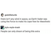 Darth Vader, Godzilla, and Trash: O godzilla turds  there isn't any wind in space, so Darth Vader was  using the Force to make his cape flow for Haesthetic  kylo-reylo trash  People can only dream of being this extra -F