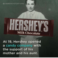 Candy, Memes, and Chocolate: O HERSHEY STORY ORG  Milk Chocolate  At 19, Hershey opened  a candy company  with  the support of his  mother and his aunt. #FYIfriday