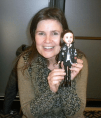 Doctor, Memes, and Mini-Me: O. It's Sophie Aldred, and her mini-me, Ace (Doctor Who).  I made her that doll, by taking a Bratz doll, and removing its original face.  I hand painted a new face, and created the outfit. (Ace)