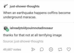 """Hump Day, Memes, and Shower: o"""" just-shower-thoughts  When an earthquake happens coffins become  underground maracas.  ialreadytoldyouimnotadinosaur  thanks for that not at all terrifying image  Source: just-shower-thoughts  49,687 notes > Hump-Day, Dump-Day: 23 Memes, damit Sie reibungslos durch den Rest der Woche kommen! - #damit #den #DER #DumpDay #durch #HumpDay #kommen #Memes #reibungslos #Rest #Sie #Woche"""