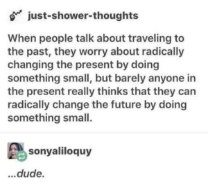 Dude, Future, and Shower: o just-shower-thoughts  When people talk about traveling to  the past, they worry about radically  changing the present by doing  something small, but barely anyone in  the present really thinks that they carn  radically change the future by doing  something small.  sonyaliloquy  dude. Woah…
