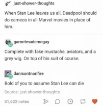 Fake, Funny, and Movies: o just-shower-thoughts  When Stan Lee leaves us all, Deadpool should  do cameos in all Marvel movies in place of  him.  garnetmademegay  Complete with fake mustache, aviators, and a  grey wig. On top of his suit of course.  喝danisontronfire  Bold of you to assume Stan Lee can die  Source: just-shower-thoughts  51,622 notesD I'd be good with that