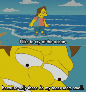 Ocean, Cry, and Like: O like to cry at the ocean,  becaUse only fhere do my fears seem small 2nelsonirl4meirl