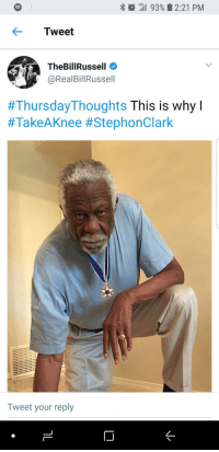 Blackpeopletwitter, Police, and Murder: * O  LTE  il 93% 2:21 PM  Tweet  TheBillRussell  @RealBillRussell  #Thursday-Thoughts This is why I  #TakeAKnee #StephonClark  Tweet your reply  ID <p>Another Day, Another Murder by Police (via /r/BlackPeopleTwitter)</p>