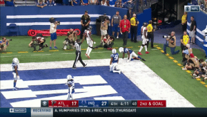 .@JulioJones_11 GETS UP for the @AtlantaFalcons TD! #ATLvsIND  📺: CBS 📱: NFL app // Yahoo Sports app Watch on mobile: https://t.co/qnNxI5gZ8j https://t.co/cTnhe4UZ7d: O NFL  COLTH  ATL  17  (1-1)  27 4TH 4:11 40 2ND & GOAL  IND  (1-1)  RECEIVING A. HUMPHRIES (TEN): 6 REC, 93 YDS (THURSDAY)  OFANTASY .@JulioJones_11 GETS UP for the @AtlantaFalcons TD! #ATLvsIND  📺: CBS 📱: NFL app // Yahoo Sports app Watch on mobile: https://t.co/qnNxI5gZ8j https://t.co/cTnhe4UZ7d