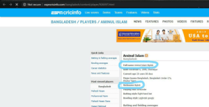 This is a real name of a Bangladeshi cricketer! Bliplob Bliplob!: O Not secure  espncricinfo.com/bangladesh/content/player/926597.html  ESPT cricinfo Live scores Series Teams Features Videos Stats  NEWS FEATURES  BANGLADESH/ PLAYERS / AMINUL ISLAM  PHOTOS  VIDEOS  FIXTURES  20  SHIP  Universal Relocations  e ONE SIUP'rekcason service  YEA  USA to  www.universalrelocations.com  Toll Free: 18  Quick Links  Aminul Islam  Bangladesh  Batting & fielding averages  Bowling averages  Full name Aminul Islam Biplob  Career statistics  Born vovemper 6, 1999, Shariatpur  News and Features  Current age 20 years 58 days  Major teams Bangladesh, Bangladesh Under-17s,  Khulna Tigere  Most viewed players  Nickname Biplob  Bangladesh  Playing roie Alirounder  Mahedi Hasan  Batting style Right-hand bat  Mohammad Naim  Bowling style Legbreak googly  Mehedi Hasan Rana  Batting and fielding averages  Hasan Mahmud This is a real name of a Bangladeshi cricketer! Bliplob Bliplob!