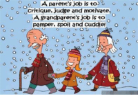 Memes, Parents, and Jobs: o o o A parent's job is to  o o  o critique, Judge and motivate  A grandparent's job is to  pamper, spoil and Cuddie!  o o  o o o o  O O  G Are you doing your job? LOL Hugs and Giggle out Loud - GrandmasFollies.com