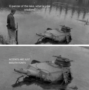 fonts: O panzer of the lake, what is your  wisdom?  ACCENTS ARE JUST  MOUTH FONTS