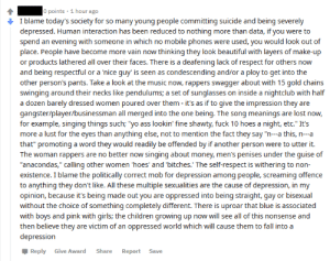 """Gentlesir is highly upset that people use phones, wear makeup, and sing about sex. Also political correctness, gender non-conformity and the gays cause depression.: O points · 1 hour ago  I blame today's society for so many young people committing suicide and being severely  depressed. Human interaction has been reduced to nothing more than data, if you were to  spend an evening with someone in which no mobile phones were used, you would look out of  place. People have become more vain now thinking they look beautiful with layers of make-up  or products lathered all over their faces. There is a deafening lack of respect for others now  and being respectful or a 'nice guy' is seen as condescending and/or a ploy to get into the  other person's pants. Take a look at the music now, rappers swagger about with 15 gold chains  swinging around their necks like pendulums; a set of sunglasses on inside a nightclub with half  a dozen barely dressed women poured over them - it's as if to give the impression they are  gangster/player/businessman all merged into the one being. The song meanings are lost now,  for example, singing things such; """"yo ass lookin' fine shawty, fuck 10 hoes a night, etc."""" It's  more a lust for the eyes than anything else, not to mention the fact they say """"n--a this, n-a  that"""" promoting a word they would readily be offended by if another person were to utter it.  The woman rappers are no better now singing about money, men's penises under the guise of  """"anacondas,"""" calling other women 'hoes' and 'bitches.' The self-respect is withering to non-  existence. I blame the politically correct mob for depression among people, screaming offence  to anything they don't like. All these multiple sexualities are the cause of depression, in my  opinion, because it's being made out you are oppressed into being straight, gay or bisexual  without the choice of something completely different. There is uproar that blue is associated  with boys and pink with girls; the ch"""