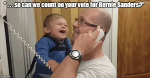 (Uncontrollable laughter): o.. So canwe count on yourvote for Bernie Sanders? (Uncontrollable laughter)