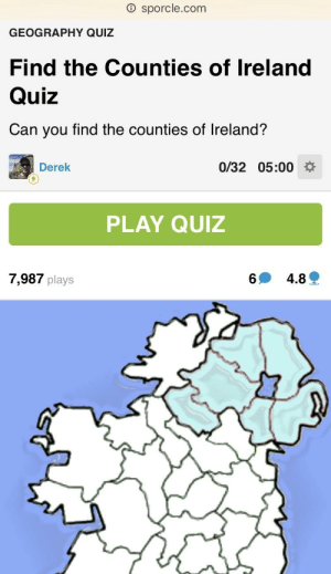 Map Of Ireland Quiz.O Sporclecom Geography Quiz Find The Counties Of Ireland Quiz Can