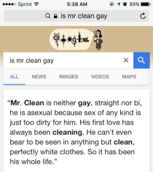 """Clothes, Life, and Love: o Sprint  @ 10 89%  5:38 AM  is mr clean gay  Q  is mr clean gay  NEWS  IMAGES  MAPS  ALL  VIDEOS  """"Mr. Clean is neither gay, straight nor bi,  he is asexual because sex of any kind is  just too dirty for him. His first love has  always been cleaning. He can't even  bear to be seen in anything but clean,  perfectly white clothes. So it has been  his whole life."""" scarecrowjunkrat:  5:38am"""