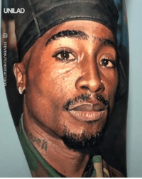 Dank, Tattoo, and Tupac: O STEVEBUTCHERTATTO This is the most hyper-realistic tattoo of Tupac I've ever seen 😱🙌
