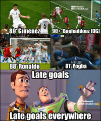 Goals, Memes, and 🤖: O TrollFootball  TheTrollFootball_Insta  CSANCHE  89 'Gimenez 90+ Bouhaddouz (OG  80:05  2-1  AUS  MATUIDI  88'Ronaldo  81 Pogba  Late goals  TrollFootball  ⓞTheTrollFootballInsta  Late goals everywhere This #WorldCup is a tournament of late goals 😍 https://t.co/ph4sOXm786