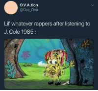 <p>KOD (via /r/BlackPeopleTwitter)</p>: O.V.A.tion  @Dre Ova  Lil' whatever rappers after listening to  J. Cole 1985 <p>KOD (via /r/BlackPeopleTwitter)</p>