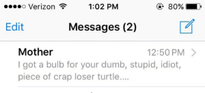 loser: o Verizon  1:02 PM  ④ 80%  Edit Messages (2)  Mother  I got a bulb for your dumb, stupid, idiot,  piece of crap loser turtle...  12:50 PM