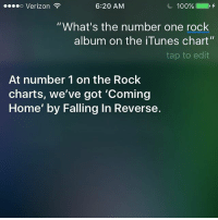 """AWW YEA: o Verizon  100%  6:20 AM  """"What's the number one rock  album on the iTunes chart  tap to edit  At number 1 on the Rock  charts, we've got 'Coming  Home' by Falling In Reverse. AWW YEA"""