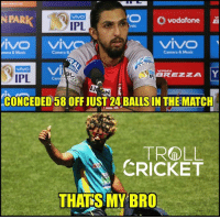 Memes, Music, and Troll: O vodafone  IPL  VIVO  VIVO VIVO  Camera & Music  Camera &  a Music  VI  GREEzzA Y  IPL  CONCEDED 58 OFF JUST 24 BALLS IN THE MATCH  TROLL  CRICKET  THATS MY BRO Both of them gave away 4-0-58-0 today  <mad>