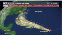 "Hurricane Irma: O WEATHER HURRICANE IRMA  TUE 10:00 AM  NINDS: 175 MPH  MOVING: W at 14 MPH  PRES: 929 mb  LOCATION: 16.7""N, 57.7""w  ATLANTA  BERMUDA  HOUSTOM  TAMPA  CMC  evly MIAM  UKM  CO  CUBA  DOMINICAN REPBIC  GUATEMALA  GUADELO  SAN SALVADOR"