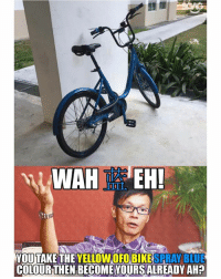 Memes, Blue, and Acting: O0D  YOU TAKE THE YELLOWOFO BIKESPRAY BLUE  COLOURTHEN BECOME YOURSALREADY AH? Come on guys, we Singaporeans are educated people so start acting like it... please don't be a mOFO!!!