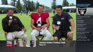 """""""If I went back to college right now, I'd be a 1,000-yard receiver.""""   @DerekCarrQB looking to unleash his athleticism in the @Raiders offense in 2019. (via @NFLNetwork) https://t.co/t5foGcllHe: OAKLAND RAIDERS  2019 TRAINING CAMP  RAIDERS  Training Camp Location:  Napa, CA  4  Head Coach:  Jon Gruden  Offensive Coord:  Greg Olson  Defensive Coord:  Paul Guenther  DE  Special Teams Coord:  Rich Bisaccia  2018 W-L: 4-12  (last in AFC West)  Last Playoff App: 2016  INSIDE  TRAINING  CAMP LIVE  Oakland Raiders Training Camp  Napa, CA  A StateFarm """"If I went back to college right now, I'd be a 1,000-yard receiver.""""   @DerekCarrQB looking to unleash his athleticism in the @Raiders offense in 2019. (via @NFLNetwork) https://t.co/t5foGcllHe"""