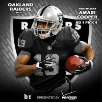 First look at @amaricooper9 in a @raiders jersey NFLDraft: OAKLAND  RAIDERS  WIDE RECEIVER  AMARI  SELECT  COOPER  D 1 PICK 4  br PRESENTED BY verizon First look at @amaricooper9 in a @raiders jersey NFLDraft