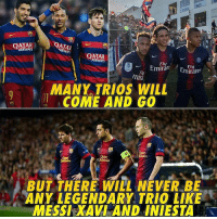 Memes, Messi, and Qatar: OATAR  AIRWAYS  QATAR  IRWAYS  QATAR  AIRWAYS  Fly  mti  MANY TRIOS WILL  ACOME AND GO  BUT THERE WILL NEVER BE  ANY LEGENDARY TRIO LIKE  MESSI XAVI AND INIESTA