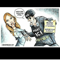 Memes, 🤖, and Green Card: OAVEERANLUND.COM  GREEN CARD  VIOLATION  1996  MELANIA  KNAUSS  OF SLOVENIA  WORKED IN US  ILLEGALLY