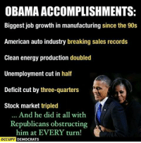 Memes, Stock Market, and 🤖: OBAMA ACCOMPLISHMENTS:  Biggest job growth in manufacturing since the 90s  American auto industry breaking sales records  Clean energy production doubled  Unemployment cut in half  Deficit cut by three-quarters  Stock market tripled  And he did it all with  Republicans obstructing  him at EVERY turn!  OCCUPY  DEMOCRATS And now, people want unity for Trump and complain Obama was horrible...