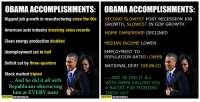 Energy, Memes, and Obama: OBAMA ACCOMPLISHMENTS: OBAMAACCOMPLISHMENTS:  Biggest job growth in manufacturing since the 90s  SECOND SLOWEST POST RECESSION JOB  GROWTH  SLOWEST IN GDP GROWTH  American auto industry breaking sales records  HOME OWNERSHIP  DECLINED  Clean energy production doubled  MEDIAN INCOME LOWER  Unemployment cut in half  EMPLOYMENT TO  POPULATION RATIO LOWER  Deficit cut by three-quarters  NATIONAL DEBT  DOUBLED  Stock market tripled  AND HE DID IT ALL  And he did it all with  WITH DEMS CALLING YOU  Republicans obstructing  A RACIST FOR POINTING  him at EVERY turn!  THESE OUT  OCCUPY DEMOCRATS  OCCUPY  DEMOCRATS (GC) SOURCES: https://www.minneapolisfed.org/publications/special-studies/rip/recession-in-perspective https://fred.stlouisfed.org/series/USHOWN http://www.politico.com/story/2015/11/democrats-wage-problem-labor-215854 https://fred.stlouisfed.org/series/EMRATIO https://www.treasurydirect.gov/govt/reports/pd/histdebt/histdebt_histo5.htm
