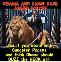 obama meme: OBAMA AND LloN HAVE  Like if your stand with  HEUSER Gangster Popeye  and think Obama should  BUZZ the HECK off!