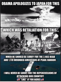 """FWD: why does Obama keep apologizing?: OBAMA APOLOGIZES TO JAPAN FOR THIS  WHICH WAS RETALIATION FOR THIS  FBINOLAPDOGMEDIA  WHEN HE SHOULD BE SORRY FOR THE 2,403 DEAD  AND 1178 WOUNDED AMERICANS ATPEARL HARBOR.  I WILL NEVER BE SORRY FOR THE REPERCUSSIONS OF  ATTACKING OUR COUNTRY!  """"LIKE"""" IF YOU AGREE FWD: why does Obama keep apologizing?"""