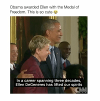 i love the iPhone 7Plus 😍😍 - follow @bitchy.tweets if you're watching 🙈👀: Obama awarded Ellen with the Medal of  Freedom. This is so cute  In a career spanning three decades,  Ellen DeGeneres has lifted our spirits  NCNN i love the iPhone 7Plus 😍😍 - follow @bitchy.tweets if you're watching 🙈👀