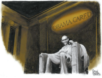 Memes, Arizona, and Obama Care: OBAMA CARED Steve Benson, Arizona Republic