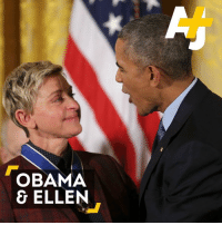 Obama just made Ellen DeGeneres cry as she was getting a Medal of Freedom at the White House.: OBAMA  & ELLEN Obama just made Ellen DeGeneres cry as she was getting a Medal of Freedom at the White House.