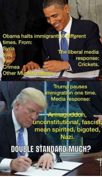 Memes, 🤖, and Media: Obama halts immigrant  6 fferent  times. From:  yria  he liberal media  raq  response:  an  Crickets.  Crimea  im nations  Other  Trump pauses  immigration one time.  Media response:  unconstitutional, fascist,  mean spirited, bigoted,  DOUBLE STANDARD MUCH? ...