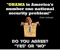 "America, Memes, and Obama: ""OBAMA is America's  number one national  security problem!""  -Rush Limbaugh  DO YOU AGREE?"