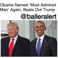 America, Bernie Sanders, and Beyonce: Obama Named 'Most Admired  Man' Again, Beats Out Trump  @balleralert Obama Named 'Most Admired Man' Again, Beats Out Trump - blogged by: @ashleytearra ⠀⠀⠀⠀⠀⠀⠀ ⠀⠀⠀⠀⠀⠀⠀ Former President BarackObama has been named the 'most admired man' for the tenth year in a row, according to a poll released by Gallup News. ⠀⠀⠀⠀⠀⠀⠀ ⠀⠀⠀⠀⠀⠀⠀ Earlier in the month, Gallup surveyed 1,049 adults, asking which man and woman in the United States of America they admired most. This past Wednesday, those results were revealed. ⠀⠀⠀⠀⠀⠀⠀ ⠀⠀⠀⠀⠀⠀⠀ While Trump came in at 14%, Obama took the leading spot, sitting at 17% and beating Trump out by 3% in the men's poll. Hillary Clinton-who has held the 'most admired woman' title a total of 22 times, retained it for the 16th consecutive year, coming in at 9% to Michelle Obama's 7%. ⠀⠀⠀⠀⠀⠀⠀ ⠀⠀⠀⠀⠀⠀⠀ However, this happens to be Clinton's lowest percentage that she's received since 2002. Last year, she stood at 12%, while Barack Obama scored at 22%. But, although this year's percentage rates were relatively low, it's unquestionable that, even outside of the White House, everybody loves Obama! Obviously, that trumps all... even Mr. Trump, himself. No pun intended. ⠀⠀⠀⠀⠀⠀⠀ ⠀⠀⠀⠀⠀⠀⠀ Pope Francis, Rev. Billy Graham, John McCain, Elon Musk, Bernie Sanders, Bill Gates, Benjamin Netanyahu, Jeff Bezos, The Dalai Lama, and Mike Pence followed Donald Trump in the poll. Falling behind Michelle Obama was Oprah Winfrey, Elizabeth Warren, Angela Merkel, Queen Elizabeth II, Condoleezza Rice, Melania Trump, Nikki Haley, Duchess Kate Middleton, and Beyoncé Knowles-Carter. ⠀⠀⠀⠀⠀⠀⠀ ⠀⠀⠀⠀⠀⠀⠀ Trump had 35% of Republican voters who chose him as their most admired man. Obama led among Democrats, with 39% making him their top choice. Independents also elected Obama over Trump by a three-point margin.