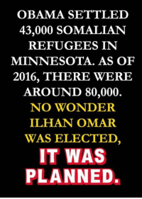 Obama, Twitter, and Minnesota: OBAMA SETTLED  43,000 SOMALIAN  REFUGEES IN  MINNESOTA. AS OF  2016, THERE WERE  AROUND 80,000  NO WONDER  ILHAN OMAR  WAS ELECTED,  IT WAS  PLANNED.