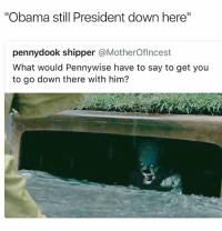 "I know half you would go in if he showed ya'll an iPhone X • ➫➫ Follow @savagememesss for more posts daily: ""Obama still President down here""  pennydook shipper @MotherOflncest  What would Pennywise have to say to get you  to go down there with him? I know half you would go in if he showed ya'll an iPhone X • ➫➫ Follow @savagememesss for more posts daily"