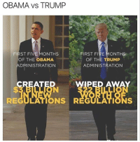 America, Memes, and Obama: OBAMA VS TRUMP  FIRST FIVE MONTHS  OF THE OBAMA  ADMINISTRATION  FIRST FIVE MONTHS  OF THE TRUMP  ADMINISTRATION  PED A  REGULATIONS R  ONS The art of the deal folks!! This is one of the reasons why we have the best small business numbers since 1984!! MAGA🇺🇸🇺🇸 liberal maga conservative constitution like follow presidenttrump resist stupidliberals merica america stupiddemocrats donaldtrump trump2016 patriot trump yeeyee presidentdonaldtrump draintheswamp makeamericagreatagain trumptrain triggered Partners --------------------- @too_savage_for_democrats🐍 @raised_right_🐘 @conservativemovement🎯 @millennial_republicans🇺🇸 @conservative.nation1776😎 @floridaconservatives🌴