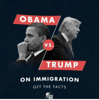 Tilt your phone, or drag your mouse, to check out the differences between President Obama and President Trump regarding immigration!: OBAMA  VS.  TRUMP  ON IMMIGRATION  GET THE FACTS Tilt your phone, or drag your mouse, to check out the differences between President Obama and President Trump regarding immigration!