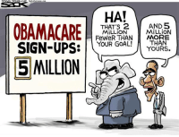 Best Cartoons of the Week: http://bit.ly/political-cartoons: OBAMACARE  SIGN-UPS  E MILLION  HA!  THAT's 2  AND 5  MILLION  MILLION  FeweR THAN  MORE  YOUR GOAL!  THAN  YOURS. Best Cartoons of the Week: http://bit.ly/political-cartoons