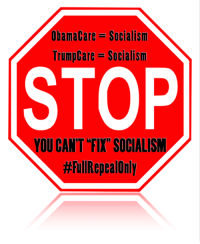 "ObamaCare- Socialism  Trump Care- Socialism  STOP  YOU CANT FIX"" SOCIALISM  HEullRepeal Only #TuesdayRepublicans, you can't fix socialism, STOP helping Democrats. #NoAHCA & get our freedoms back from #ACA #KeepYourOaths #StandWithHFC"