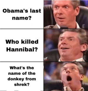 Top ten questions science still can't answer.: Obama's last  name?  Who killed  Hannibal?  WF  What's the  name of the  donkey from  shrek? Top ten questions science still can't answer.