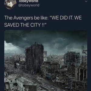 "Be Like, Avengers, and Civil War: obevworl  @tobeyworld  The Avengers be like: ""WE DID IT. WE  SAVED THE CITY!!"" Just a reminder that civil war happened"