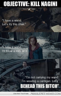 "Bitch, Facebook, and Memes: OBJECTIVE: KILL NAGINI  ""I have a wand.  Let's try this chair.""  ""1have a wand  I'll throw a rock at it.  ""I'm not carrying my wand.  I'm wearing a cardigan. Let's  BEHEAD THIS BITCH""  Like this? You'll hate  MUGGLENET MEMES.COM <p>[Connect to Facebook to view this post] <a href=""http://ift.tt/19EaefH"">http://ift.tt/19EaefH</a></p>"