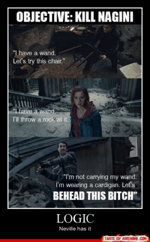 """[Connect to Facebook to view this post]http://omg-humor.tumblr.com: OBJECTIVE: KILL NAGINI  """"I have a wand.  Let's try this chair.""""  """"I have a wand.  I'l throw a rock at it.  """"I'm not carrying my wand.  I'm wearing a cardigan. Let's  BEHEAD THIS BITCH""""  LOGIC  Neville has it  TASTE OF AWESOME.COM [Connect to Facebook to view this post]http://omg-humor.tumblr.com"""